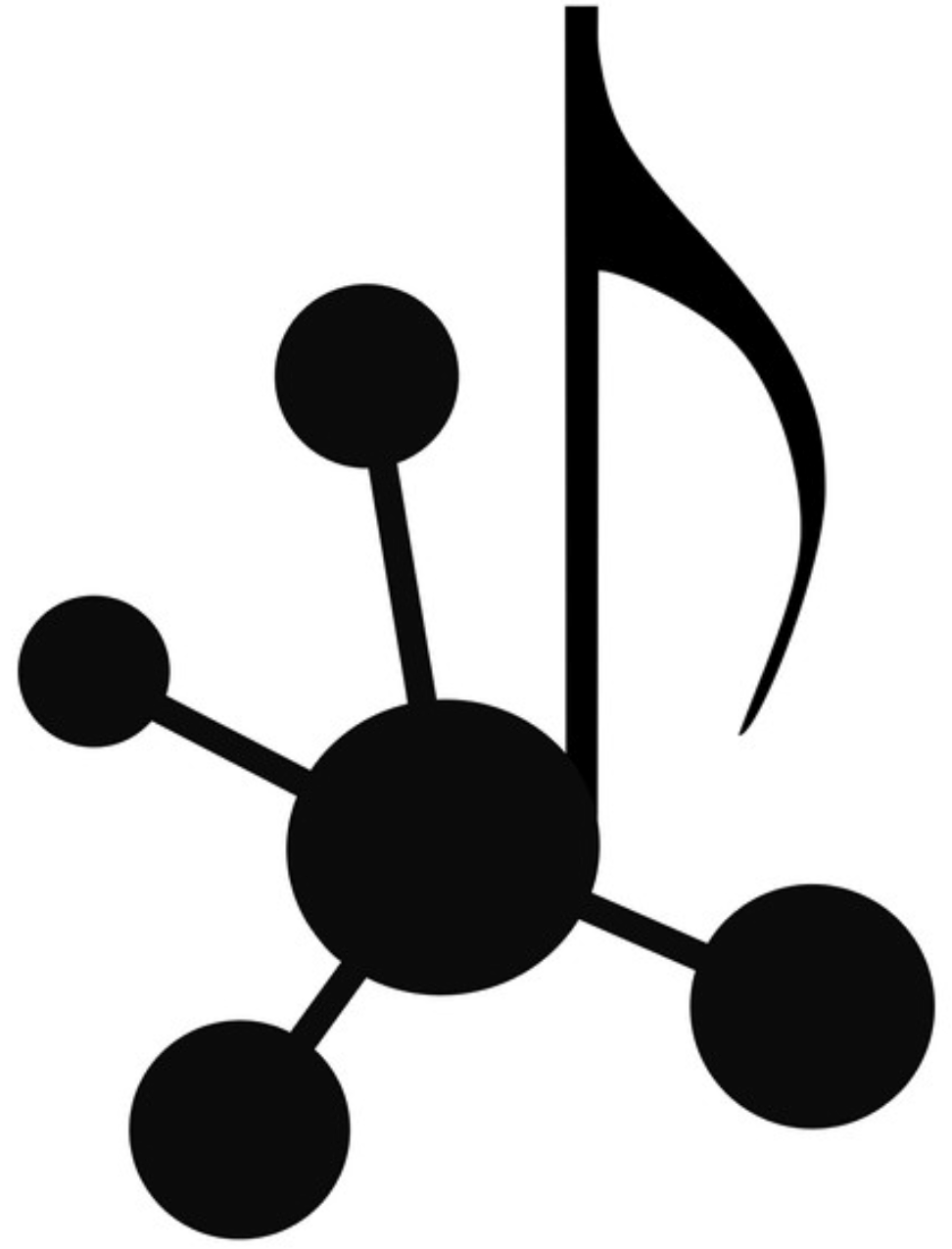 The WebAudioTech logo: A musical quarter note whose body is also the node of a graph which is connected to four other nodes.